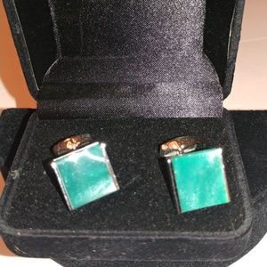 Turquoise. Stainless Steel Cufflinks